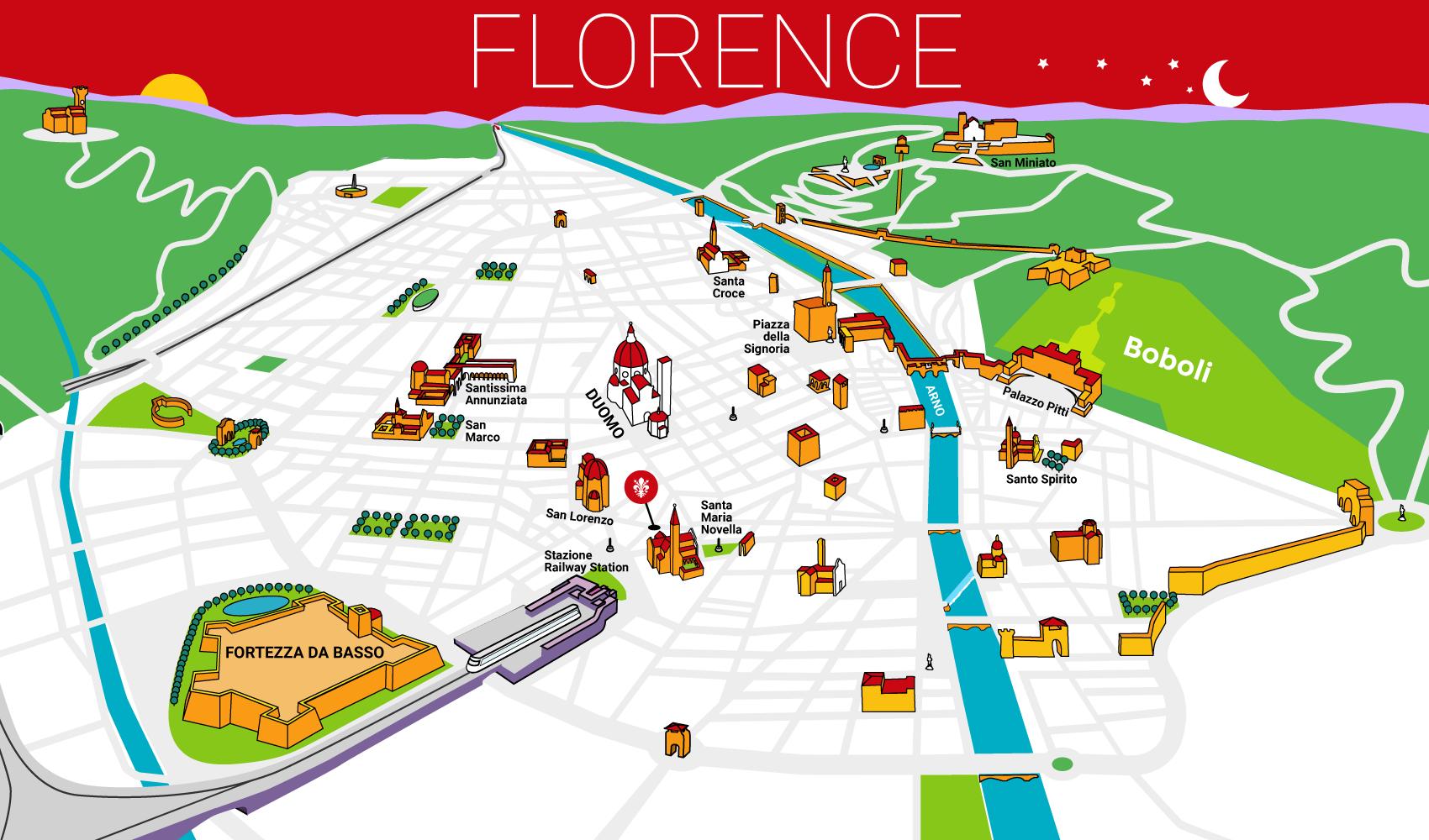 Ristorante Firenze Centro Storico - Mappa Giglio Rosso